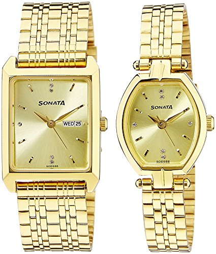 Sonata Analog Gold Color Dial Couples Watch 70078083YM02 0 - Sonata 70078083YM02