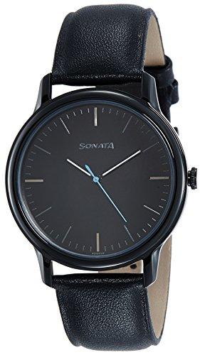 Sonata Sleek Analog Black Dial Mens Watch 7128NL01 0 - Sonata 7128NL01 Sleek Analog Black Dial Men's watch