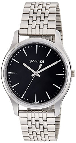Sonata Essentials Analog Black Dial Mens Watch 77082SM01 0 - Sonata 77082SM01 Essentials Analog Black Dial Men's watch