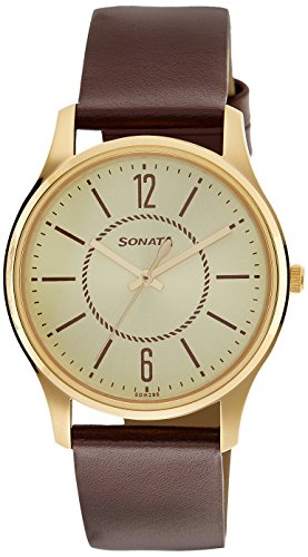 Sonata Essentials Analog Champagne Dial Mens Watch 77082YL01 0 - Sonata 77082YL01 Essentials Analog Champagne Dial Men's watch