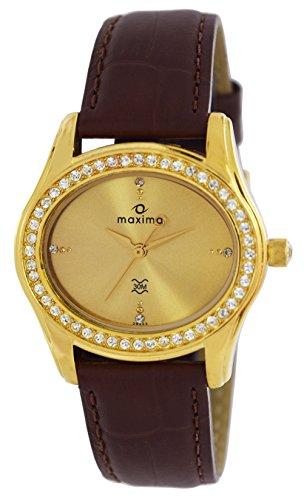 Maxima Swarovski Gold Analog Gold Dial Womens Watch 29533LMLY 0 - Maxima 29533LMLY Swarovski Gold Analog Gold Dial Women watch